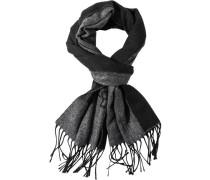Herren Schal Wolle-Kaschmir grau-schwarz