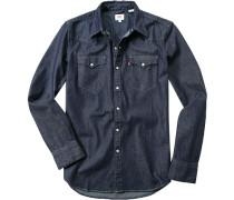 Herren Hemd Classic Fit Baumwolle denim blau