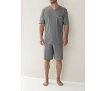Herren Schlafanzug Pyjama Baumwolljersey grau, navy, hellblau oder bordeaux