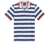 Herren Polo-Shirt, Baumwolle, dunkelblau-weiß gestreift