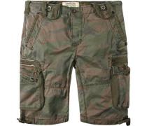 Herren Hose Cargoshorts, Baumwolle, camouflage multicolor