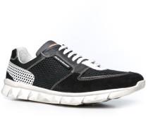 Herren Schuhe Sneakers Kalbleder-Textil-Mix schwarz-weiß schwarz,weiß