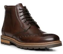 Herren Schuhe Schnürstiefeletten, Kalbleder, testa di moro braun