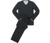 Herren Schlafanzug Pyjama, Baumwolle, schwarz