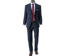 Herren Anzug Modern Fit Schurwoll-Stretch dunkelblau meliert