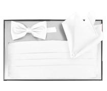 Herren Accessoires Kummerbund-Schleife-Einstecktuch Microfaser weiß