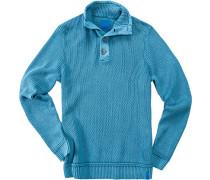 Herren Pullover Troyer, Baumwolle, azurblau