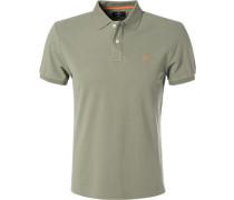 Polo-Shirt Slim Fit Baumwoll-Piqué schilf