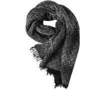 Herren Schal, Alpaka-Wolle, hellgrau-schwarz gemustert