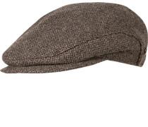 Herren   Sportmütze Wolle taupe-grau gemustert grau,braun