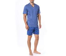 Schlafanzug Pyjama Baumwolle azur gemustert