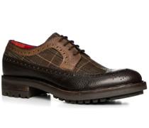 Herren Schuhe Budapester Leder-Textil cuoio-testa di moro braun,rot