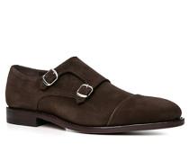 Schuhe Monkstrap Kalblederveloursleder dunkel
