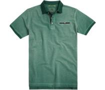 Herren Polo-Shirt, Baumwoll-Piqué, grün meliert