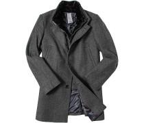 Herren Mantel Wolle anthrazit gemustert Grau