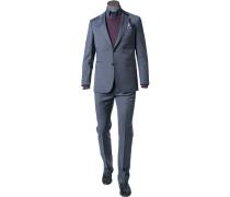 Herren Anzug Regular Fit Schurwolle graublau meliert