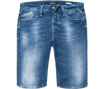 Herren Jeansshorts Regular Slim Fit Baumwoll-Stretch 12,5oz denim blau