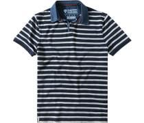 Herren Polo-Shirt, Baumwoll-Piqué, navy gestreift blau