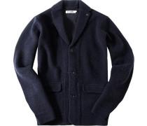 Herren Cardigan Woll-Mix marine meliert blau
