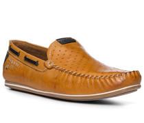 Herren Schuhe Mokassin, Leder, cognac braun