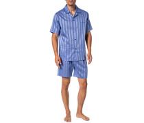 Herren Schlafanzug Pyjama, Baumwolle, blau