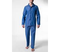 Herren Schlafanzug Pyjama Baumwolle blau meliert