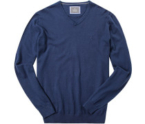 Herren Pullover Baumwoll-Seiden-Mix dunkelblau meliert