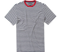 Herren T-Shirt, Baumwolle, marine-grau gestreift blau