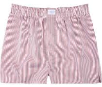 Herren Unterwäsche Boxer-Shorts Popeline bordeaux-weiß gestreift