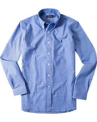 ralph lauren herren herren hemd popeline bleu wei kariert. Black Bedroom Furniture Sets. Home Design Ideas