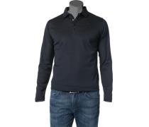 Herren Polo-Shirt Baumwolle navy-schwarz meliert blau