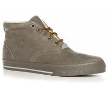 Herren Schuhe Schnürstiefeletten Leder warm gefüttert grau
