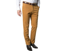 Herren Hose Chino Regular Fit Baumwoll-Stretch messing gelb