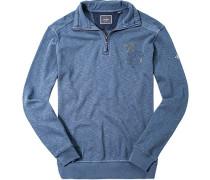 Herren Pullover Sweat-Troyer Baumwolle blau meliert