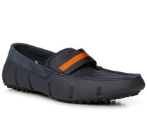 Herren Schuhe Loafer, Kautschuk, navy-orange blau