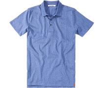 Herren Polo-Shirt Baumwolle oliv gemustert blau