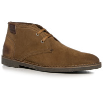 Herren Schuhe Desert Boot Veloursleder cognac