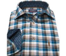 Herren Hemd Comfort Fit Flanell braun-petrol kariert blau,braun