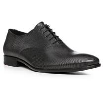 Herren Schuhe Oxford, Kalbleder, silber-schwarz