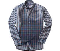 Herren Hemd Modern Fit Popeline petrol-braun kariert blau