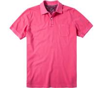 Herren Polo-Shirt, Baumwoll-Piqué, pink rosa