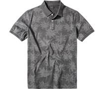 Herren Polo-Shirt Baumwolle anthrazit gemustert grau