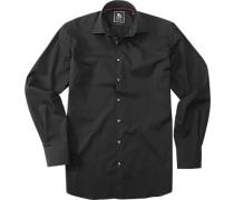 Herren Hemd Regular Fit Baumwolle schwarz