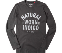 Herren T-Shirt Longsleeve Baumwolle gemustert