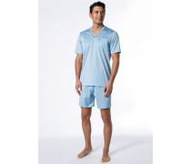 Herren Schlafanzug Pyjama, Baumwolle, hellblau