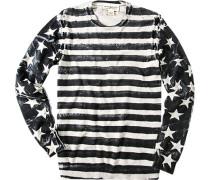 Herren Pullover Baumwolle schwarz-weiß gemustert