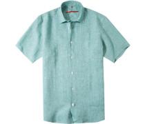 Herren Hemd, Classic Fit, Leinen, grün meliert