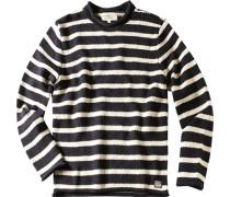 Herren Pullover Baumwoll-Mix schwarz-wollweiß gestreift
