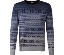 Herren Pullover Baumwolle blau-grau gemustert