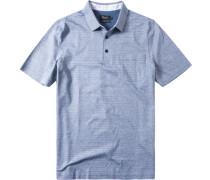 Herren Polo-Shirt Merzerisierte Baumwolle hellblau gestreift